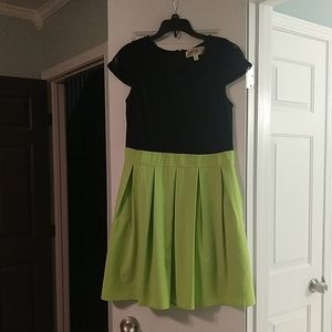 Green and black dress with lace top